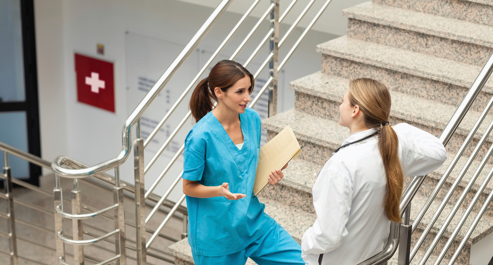 Doctor and Nurse on stairs